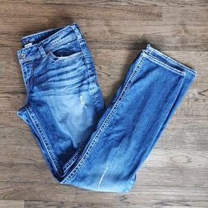 Silver Jeans Suki Straight Leg Distressed Jeans 29